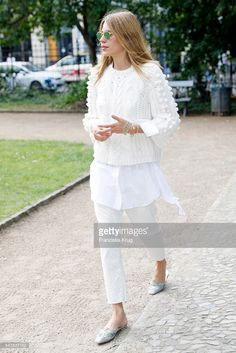 Maja Wyh attends the Dorothee Schumacher show during the Mercedes-Benz Fashion Week Berlin Spring/Summer 2017 at Elisabethkirche on June 2016 in Berlin, Germany. Get premium, high resolution news photos at Getty Images Cute Fashion, Trendy Fashion, Boho Fashion, Fashion Outfits, Womens Fashion, Fashion Tips, Street Style, Street Chic, Beige Outfit