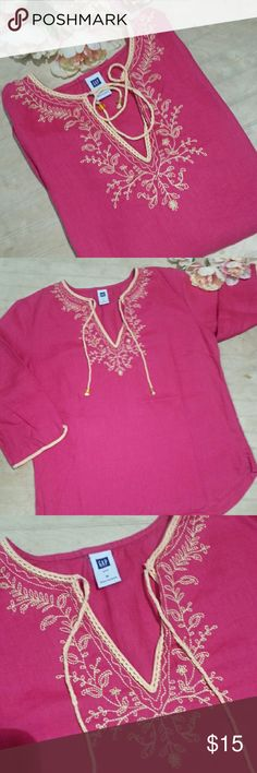 """GAP Linen Tunic Vibrant pink linen tunic with embroidered neck and cuffs and  Beaded ties at the neck. 19""""bust 25""""length Excellant condition GAP Tops Tunics"""