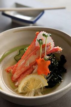 Japanese Kani-Su,  Rice Vinegared Dish  for Winter  (Snow Crab Meat,  Yam Potato, Ginger, Cucumber)  カニ酢
