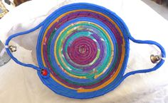 HANDMADE COTTON FABRIC COILED BASKET ROPE QUILTED MULTI COLOR HOME DECOR PLATE   Home & Garden, Home Décor, Baskets   eBay!