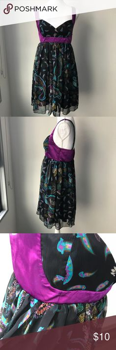 Summer dress $10 Beautiful multi colored midi dress for any occasion . Fits  4-6 size Dresses Midi