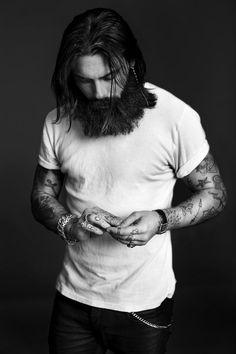 Long Hair, Beards, Tattoos, Dark Denim, Tattoos, Jewelry.. American Style. The Tee Project. Mens Fashion.