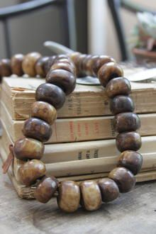 Brown bone beads