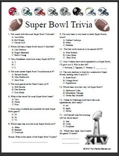 trivia sports questions games bowl super football quizzes different facts fun printable covers nfl many superbowl prepared come aphasia competitions