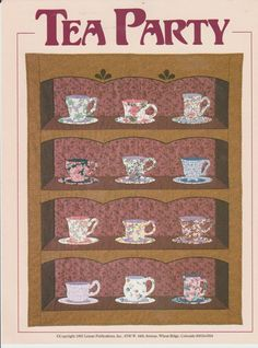 QUILT QUILTING TEA PARTY COFFEE CUP DECOR PATTERN FABRIC SEWING PROJECT DESIGN  #LEMANPUB