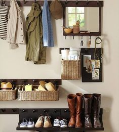 The base is simple pegracks. Iron rings on baskets, holes drilled in the mirror + shoe shelf.