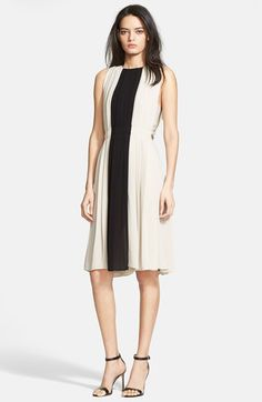 L'AGENCE Contrast Panel Pleated Crepe Dress available at #Nordstrom