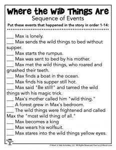 Where the Wild Things Are Activities: Games, Lesson Plans and Movie News Sequence Of Events, Teacher Worksheets, Wild Things, Classroom Activities, Lesson Plans, Homeschool, Science, Movie, Shit Happens