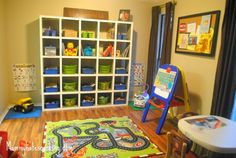 Our Play Room with Ikea Homemade 5x5 Cubbies!