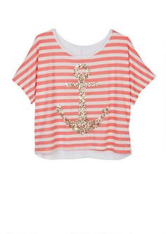 Stripe Gold Sequin Anchor Tee - View All Tops - Tops - dELiA*s