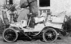 This photograph shows Puccini's post-accident in 1903. The car had come off the road between Lucca and Torre del Lago, fell, and flipped over.