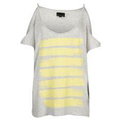 8mm. Holly t-shirt open shoulder stripe print  #zomercollectie #zomerkledingdames #zomerkleding