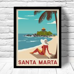 Caribbean Poster, Santa Marta travel print, Caribbean travel print, Tayrona Park, Caribbean art deco poster, Colombia Art Print