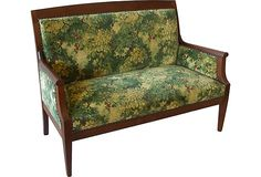 "Antique French Walnut Settee...Antique French settee, circa 1890, newly upholstered in high-end Scalamandre ""Marly"" cut velvet with nailhead trim. Ample room for two people to sit comfortably. Original springs retied and wood frame has a coat of English Fiddes wax."