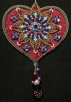 I think I can replicate this from the picture as it is really lovely. Bead Embroidered Heart Ornament class by Lisa Binkley (Wisconsin). Key To My Heart, Heart Art, Heart Ornament, Family Ornament, Fabric Hearts, Art Textile, Beaded Ornaments, Christmas Decorations To Make, Beaded Jewelry