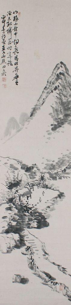 Ink Landscape, Tanumura Chokunyu (1814-1907), Japanese hanging scroll painting.