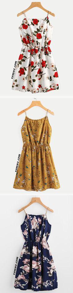 Braided Bead Strap Tie Front Flower Print Dress
