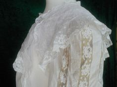 Edwardian White Cotton Lawn & Valenciennes Lace Nightgown
