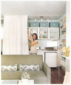 Blueprint curtain idea for kitchen. Saw this article in Blueprint several years ago. GREAT tiny apartment.