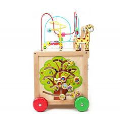 Antepremergator din lemn cub de activitati 6 in 1 - Dimensiuni produs: 36.