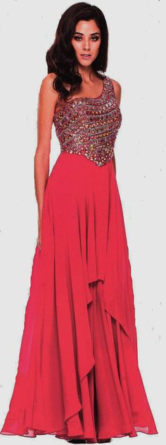 Evening Dresses Ball Dresses under $200<BR>570<BR>One shoulder full length gown featuring bodice embellished with gorgeous stones