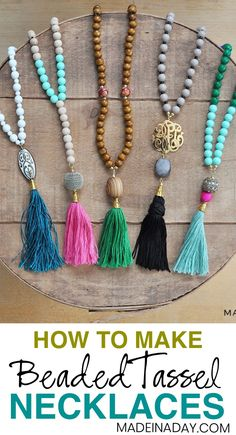 Two different ways of How to make the popular DIY #Beaded #Tassel #Necklaces. See the tutorial and start making these trendy necklaces today! Budda beads, Prayer bead necklace, how to make a tassel, beaded tassel #necklaces #Jewelry