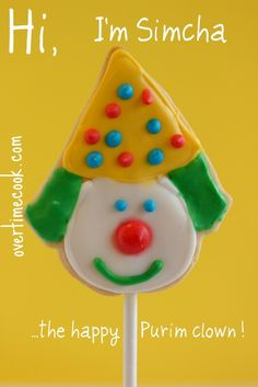 Clown Cookie Pops for Purim, with a royal icing how-to
