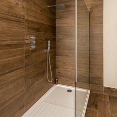 Wood Tile Shower, Dark Wood Bathroom, Beige Bathroom, Master Bathroom, Wood Grain Tile, Wood Plank Tile, Wood Tiles, Home Spa Room, Wood Effect Tiles