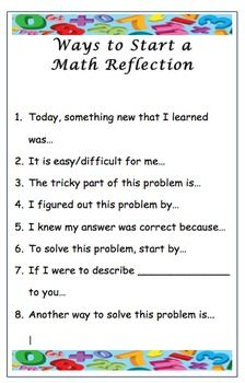 Looking for a way to tie your math lesson together? or to see if your students have mastered what you have taught? this printable includes a list of 8 Math Talk, Math 2, Math Fractions, Math Games, Reflection Math, Reflection Questions, Reflective Journal, Math Writing, Daily Math