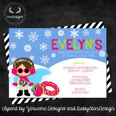 Winter Pool Party Invitation Digital File by ERRdesigns on Etsy