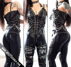 a52f133aab Black faux leather corset top with loads of rivets