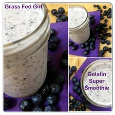 Gelatin blueberry smoothie, dairy free / http://www.grassfedgirl.com/easy-post-workout-or-meal-replacement-blueberry-super-smoothie-paleo-scd-gaps-dairy-free/
