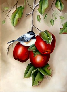 """Oil on Canvas, """"Just Resting"""" Fruit Animals, Diy Pallet Wall, Food Painting, Oil On Canvas, Birds, Fine Art, Artwork, Flowers, Pictures"""
