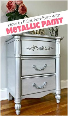Silver metallic paint and glam seem to go hand in hand. Give your painted furniture a metallic painted makeover by adding metallic silver furniture paint. See a table transformed using metallic paint for furniture. Silver Painted Furniture, Spray Paint Furniture, Metal Furniture, Shabby Chic Furniture, Furniture Makeover, Bedroom Furniture, Kitchen Furniture, Chalk Painting Furniture, Sanding Furniture