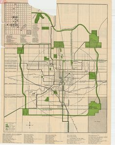 Oklahoma City Map I like the city ringed in with parks. They knew human scale and planning well then. Oklahoma City Map, Oklahoma Usa, Vintage Maps, Antique Maps, Earth World Map, Urban Design Diagram, Cities, Map Globe, City Maps