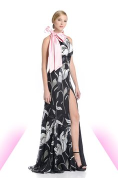 Magnolia burnt chiffon halter gown with double faced pink bow, high front slit, and low back with support straps.  #magnolia #fashion #eveningwear #highslit #pink #bows #print #chiffon