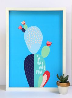 Cloud Nine Creative - Blue Cactus Print - A3