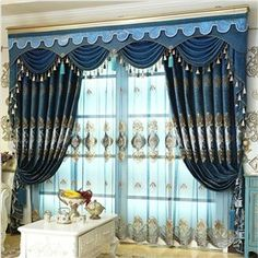 Luxury and Elegant Navy Blue Curtain Living Room and Bedroom Decorative Custom Sheer Curtain - beddinginn.com