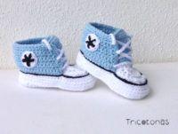 All star crochet azul cielo Zapatillas deportivas converse para bebés de ganchillo .