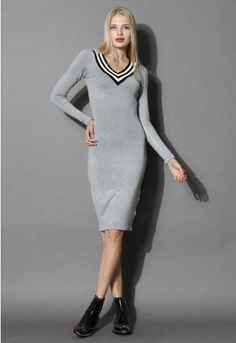 Get casual and sexy in our form-fitting V-neck casual knit dress in grey! The V-neck gives this look a youthful preppy look while the stretchy knit fabric keeps the dress sophisticated and chic! Step out in chunky ankle boots and a drape your shoulders with a black leather moto jacket for an edgy yet mature look!  - Soft ribbed knit - V-shape neckline - Fabric provides flexibility - 100% Acrylic - Hand wash cold, hang flat  Size (cm) Length  Bust  Waist  Shoulder  Sleeves S/M   ...