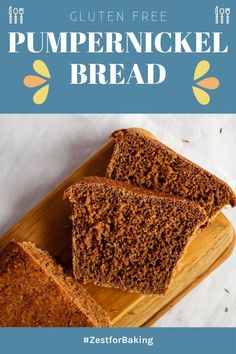 This traditional gluten free pumpernickel bread is so hearty and full of amazing flavor! It's full bodied, but not heavy and balanced with the perfect amount of dark molasses for that characteristic rich color. Oh and it's egg free and gum free too! #zestforbaking #glutenfreerecipes #glutenfreebaking #glutenfreeHolidays
