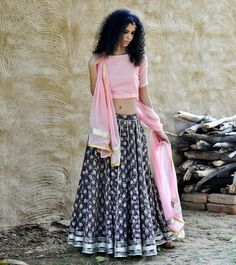 Pale pink and grey floral ghagra set