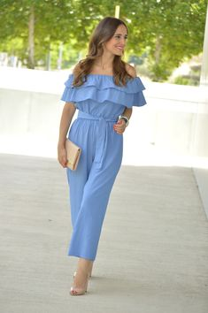 Light blue off the shoulder ruffles jumpsuit+nude peep-toed pumps+nude clutch+earrings+bracelet. 52 Beautiful Street Style Ideas To Wear Now – Fashion New Trends Jumpsuits For Girls, Blue Jumpsuits, Stylish Dresses For Girls, Party Dresses For Women, Classy Outfits, Stylish Outfits, Fashion Outfits, Ruffle Jumpsuit, Everyday Outfits