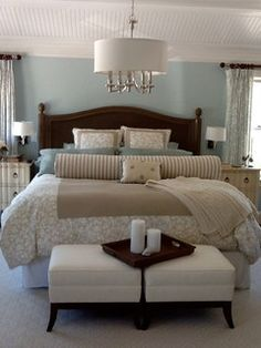 Benjamin Moore - Harbor Haze Cape Cod Retreat Home - beach style - bedroom - new york - Caroline Design Bedroom Retreat, Dream Bedroom, Home Decor Bedroom, Bedroom Ideas, Bedroom Beach, Girls Bedroom, Home Beach, Master Bedroom Design, Bedroom Designs