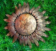 Lampara sol, tipo plafón, ferro art?  Hojas. 50 cm de diametro
