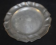 Antique Pewter Plate with unusual ribbed edge Stamped to base Fein Engl Zin