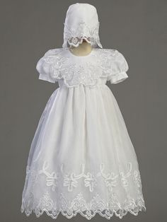 embroidered organza christening gown and bonnet