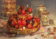 Cute Food Art, Cute Art, Aesthetic Art, Aesthetic Anime, Food Illustrations, Illustration Art, Food Kawaii, Arte Peculiar, Chibi Food