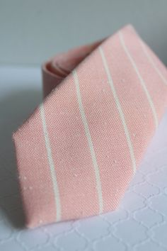 Semi Skinny Blush Linen Neck Tie with White by HandsomeAndLace