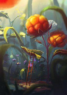 Secret World - speedpaint, flowers, fantasy, digital Fantasy Art Landscapes, Fantasy Landscape, Fantasy Artwork, Landscape Art, Personajes Studio Ghibli, Environment Concept Art, Environmental Art, Anime Scenery, Oeuvre D'art
